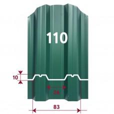 Металлоштакетник М-образный (12см), высота 1 м